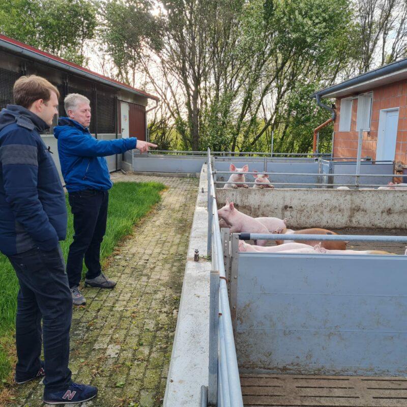 Torsten Deye und Philipp Albrecht am Schweinestall